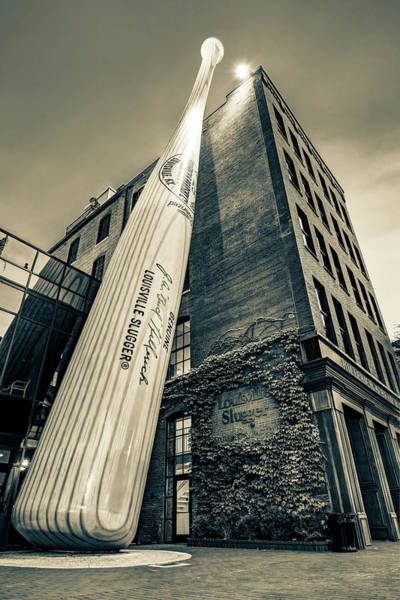 Photograph - Louisville Slugger Baseball Bat On Building - Sepia Edition by Gregory Ballos