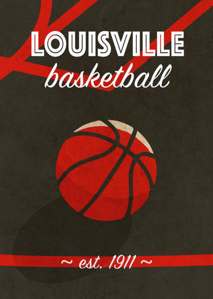 Wall Art - Mixed Media - Louisville University Retro College Basketball Team Poster by Design Turnpike