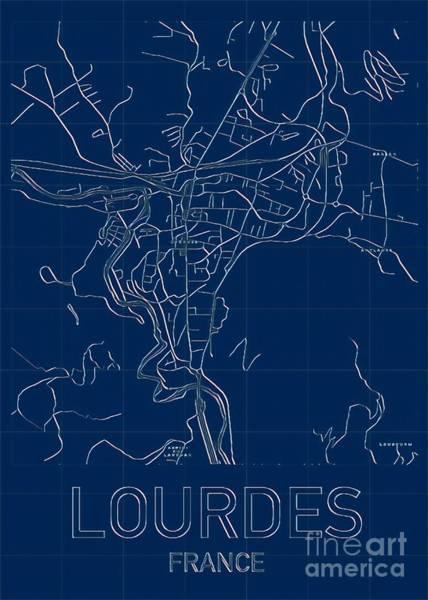 Digital Art - Lourdes Blueprint City Map by Helge