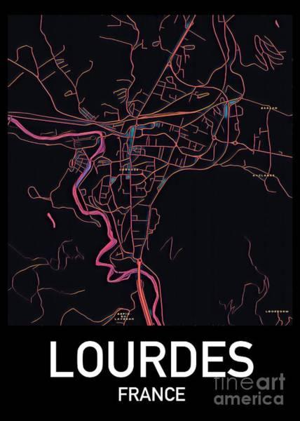 Digital Art - Lourdes City Map by Helge