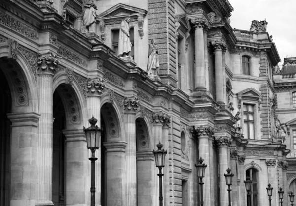 Photograph - Louvre Facade Bw by Andrew Fare