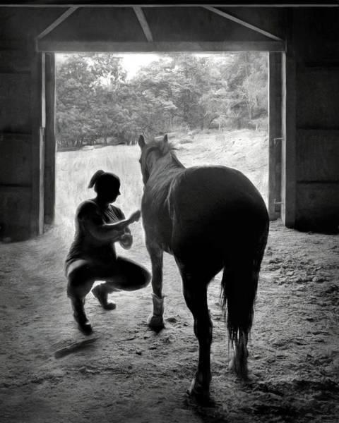 Wall Art - Photograph - Love And Patience - Horse And Groom by Nikolyn McDonald