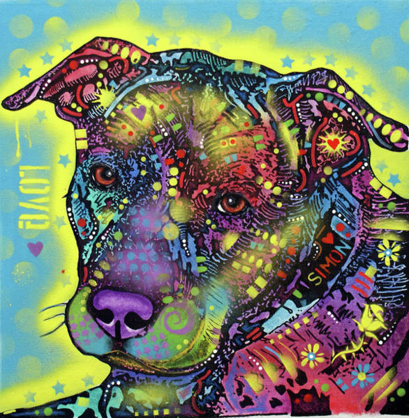 Wall Art - Painting - Love And Pitbulls by Dean Russo Art