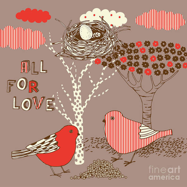Celebrate Wall Art - Digital Art - Love Background With Birds by Lavandaart