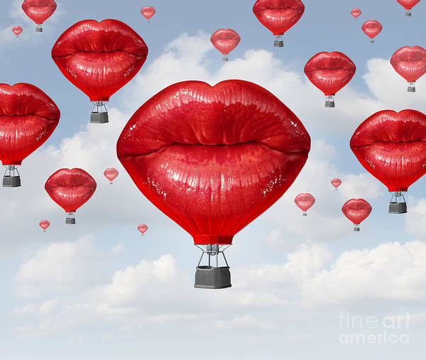 Wall Art - Digital Art - Love Balloons As A Hot Air Balloon Made by Lightspring