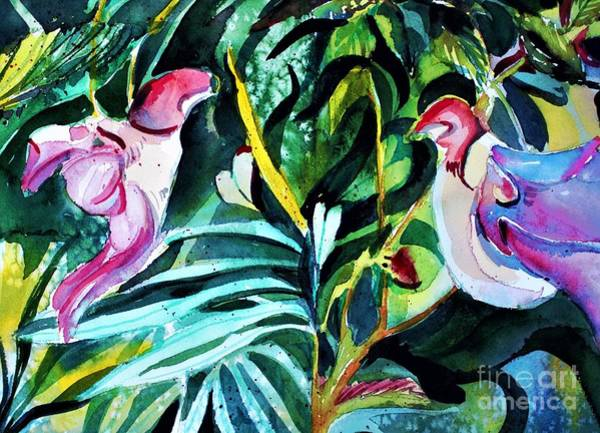 Wall Art - Painting - Love Bird Parrot Orchids by Mindy Newman