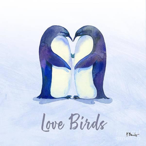 Wall Art - Painting - Love Birds II - Blue by Paul Brent