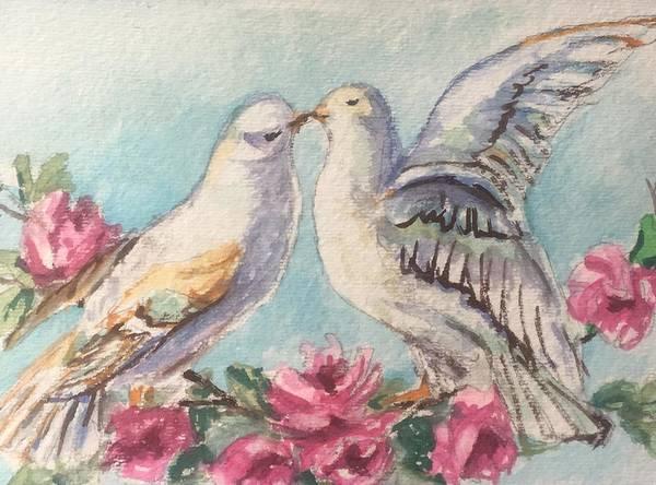Wall Art - Painting - Love Birds by Susan Elizabeth Jones