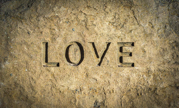 Wall Art - Photograph - Love Chiseled Into Rock by Mr Doomits