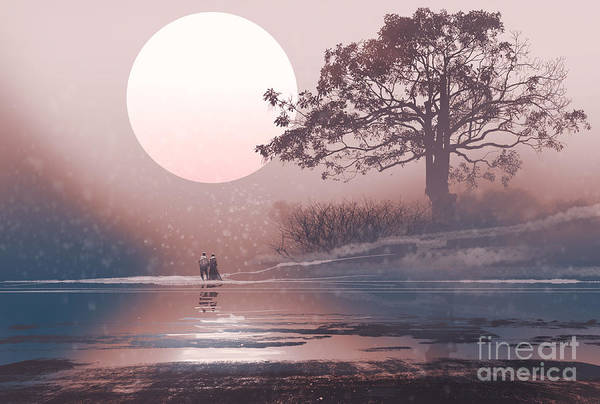Love Couple In Winter Landscape With Art Print