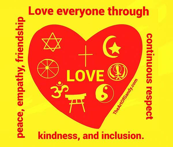 Wall Art - Digital Art - Love Everyone In Kindness And Inclusion  by Joan Ellen Kimbrough Gandy