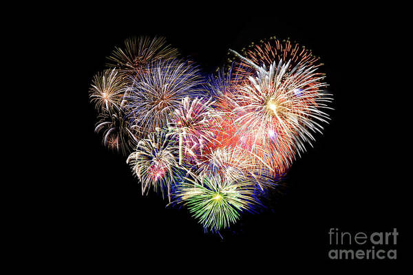 Wall Art - Photograph - Love Fireworks by Delphimages Photo Creations