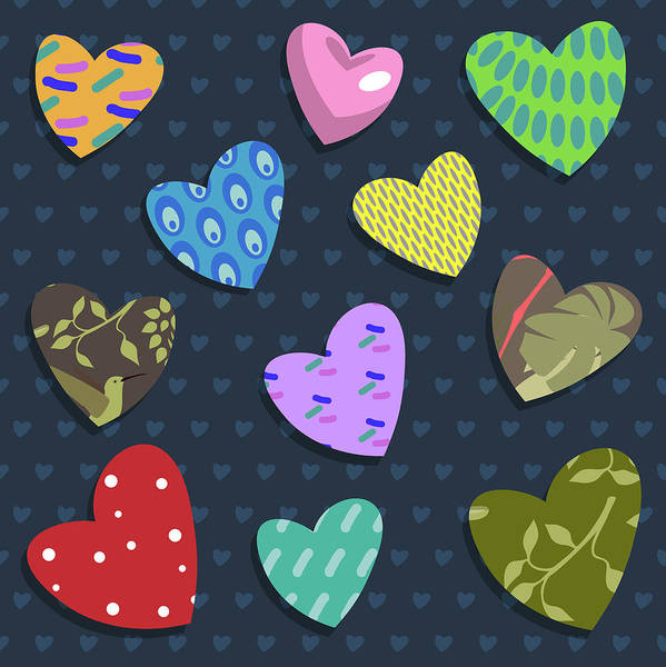 Sweetheart Digital Art - Love Hearts by Claire Huntley