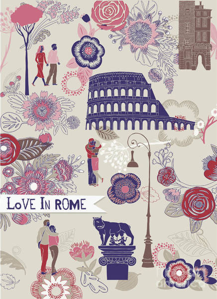 Wall Art - Digital Art - Love In Rome Greeting Card by Lavandaart