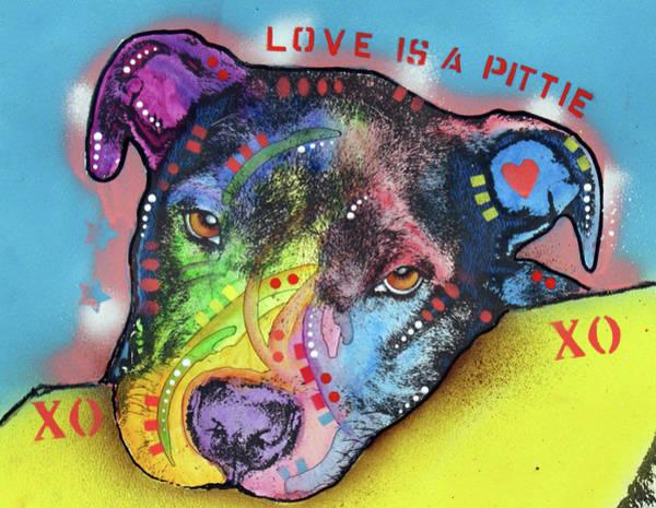 Painting - Love Is A Pittie Xo Xo by Dean Russo Art