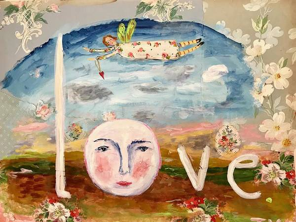 Full Moon Mixed Media - Love by Julie Whitmore