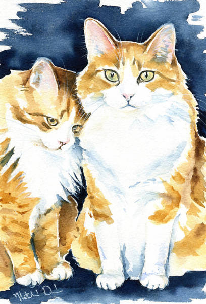 Painting - Love Me Meow Cat Painting by Dora Hathazi Mendes