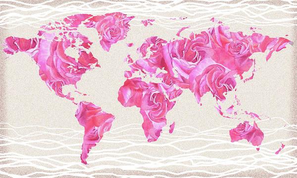 Wall Art - Painting - Love Pink Rose Watercolor World Map by Irina Sztukowski