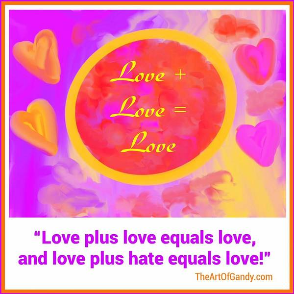 Wall Art - Digital Art - Love Plus Love by Joan Ellen Kimbrough Gandy