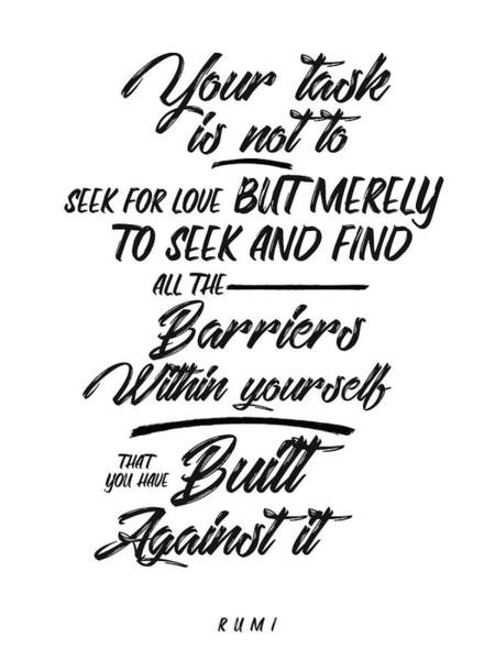 Rumi Wall Art - Mixed Media - Love Quotes - Rumi Quotes - Typography Lettering - Rumi Poster - Minimal by Studio Grafiikka