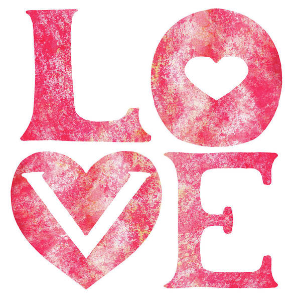 Wall Art - Painting - Love Sign Pink Watercolor Silhouette Letters Hearts  by Irina Sztukowski