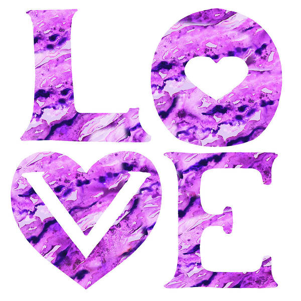 Wall Art - Painting - Love Sign Watercolor Silhouette Purple Letters And Hearts I by Irina Sztukowski