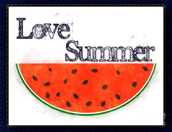 Photograph - Love Summer - Watermelon Watercolor by Colleen Cornelius