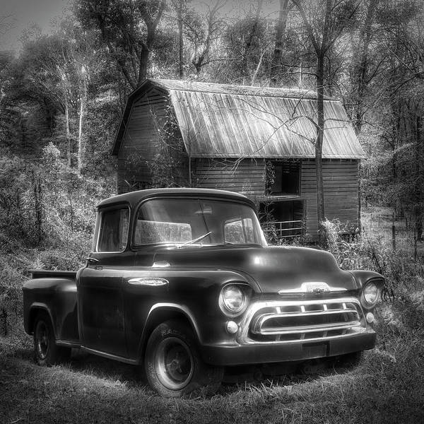 Wall Art - Photograph - Love That Black And White 1957 Chevy Truck by Debra and Dave Vanderlaan