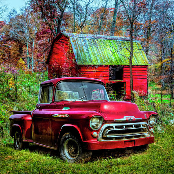 Wall Art - Photograph - Love That Red 1957 Chevy Truck In Hdr Detail by Debra and Dave Vanderlaan