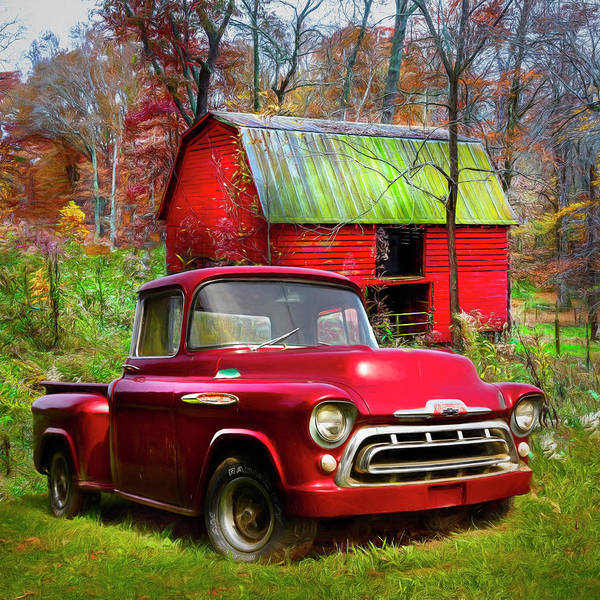 Wall Art - Photograph - Love That Red 1957 Chevy Truck Painting by Debra and Dave Vanderlaan