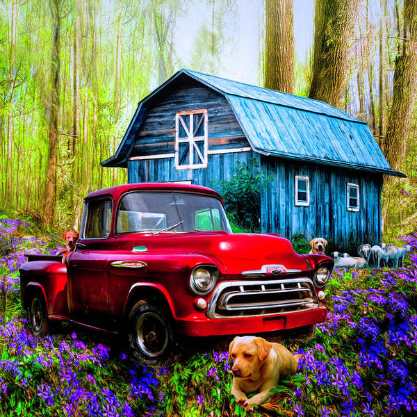 Wall Art - Photograph - Love That Red Truck At Springtime In Square by Debra and Dave Vanderlaan