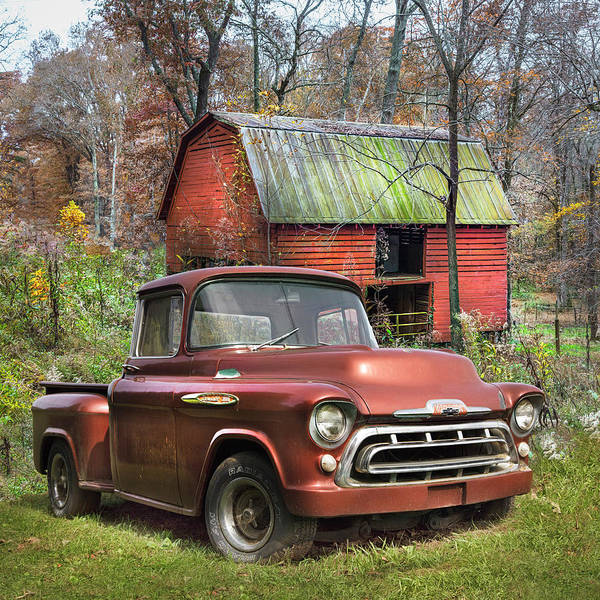 Wall Art - Photograph - Love That Rusty Red 1957 Chevy Truck by Debra and Dave Vanderlaan