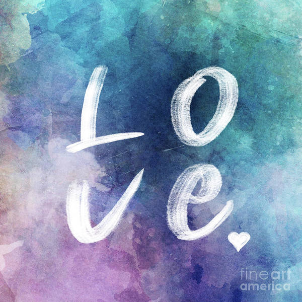 Wall Art - Digital Art - Love Watercolor In A Blue Square by Delphimages Photo Creations