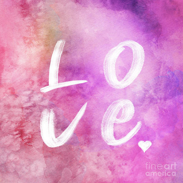 Wall Art - Digital Art - Love Watercolor In A Pink Square by Delphimages Photo Creations