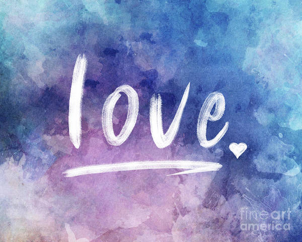 Wall Art - Digital Art - Love Watercolor In Blue by Delphimages Photo Creations