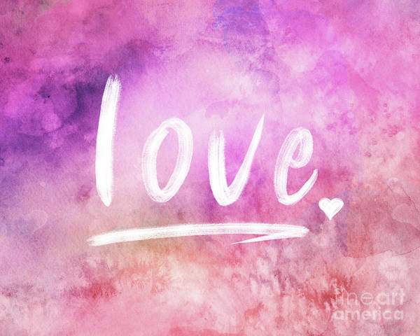 Designs Digital Art - Love Watercolor In Pink by Delphimages Photo Creations