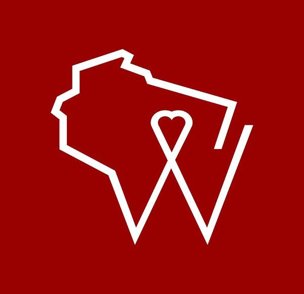 Wall Art - Digital Art - Love Wisconsin W Minimal by Geoff Strehlow