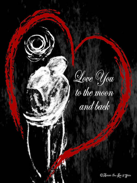 Digital Art - Love You Moonback_spiral-notebook_6x8 by Artistic Duo Katt and Shain