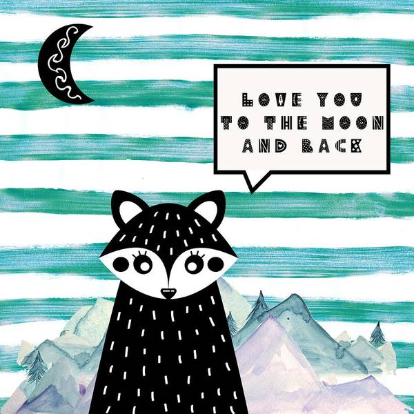 Wall Art - Painting - Love You To The Moon And Back Minimalist Poster V3a by Celestial Images