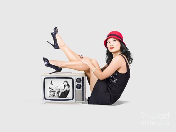 Tv Photograph - Lovely Asian Pinup Girl Posing On Vintage Tv Set by Jorgo Photography - Wall Art Gallery
