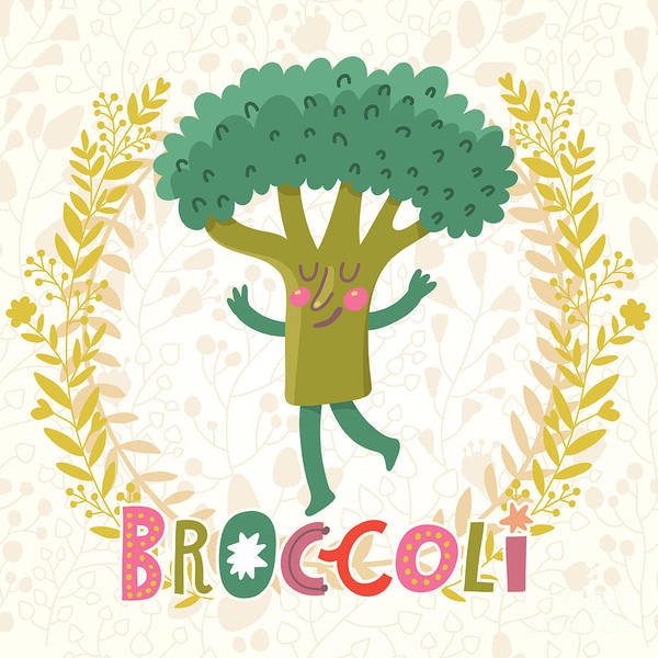 Organic Garden Wall Art - Digital Art - Lovely Broccoli In Funny Cartoon Style by Smilewithjul