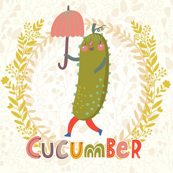 Delicious Wall Art - Digital Art - Lovely Cucumber In Funny Cartoon Style by Smilewithjul