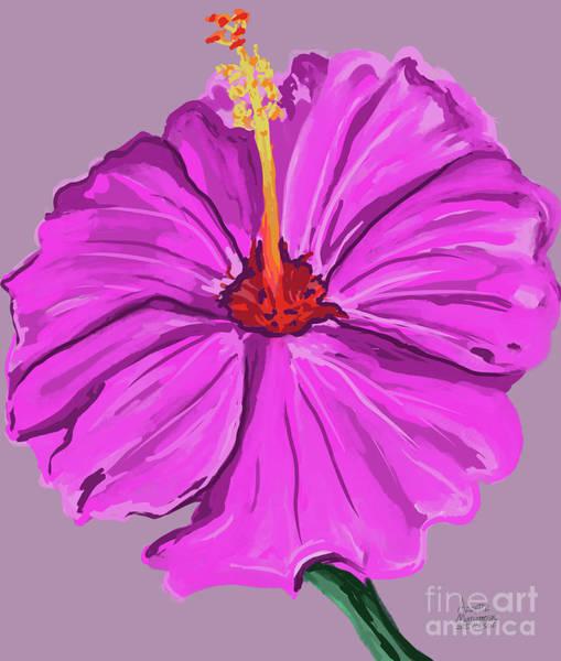 Digital Art - Lovely Pink Hibiscus by Annette M Stevenson