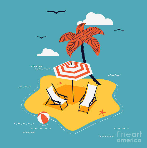 Wall Art - Digital Art - Lovely Vector Abstract Island Paradise by Mascha Tace