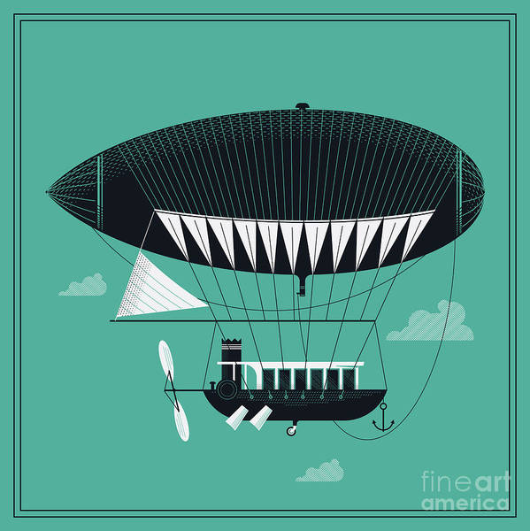 Wall Art - Digital Art - Lovely Vector Airship Illustration | by Mascha Tace