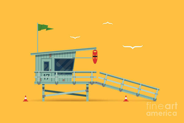 Guard Tower Wall Art - Digital Art - Lovely Vector Modern Flat Design by Mascha Tace