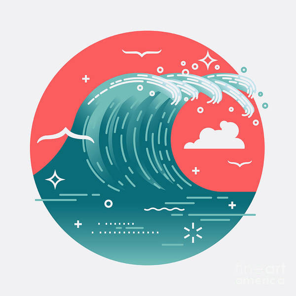 Wall Art - Digital Art - Lovely Vector Web Icon On Large Ocean by Mascha Tace