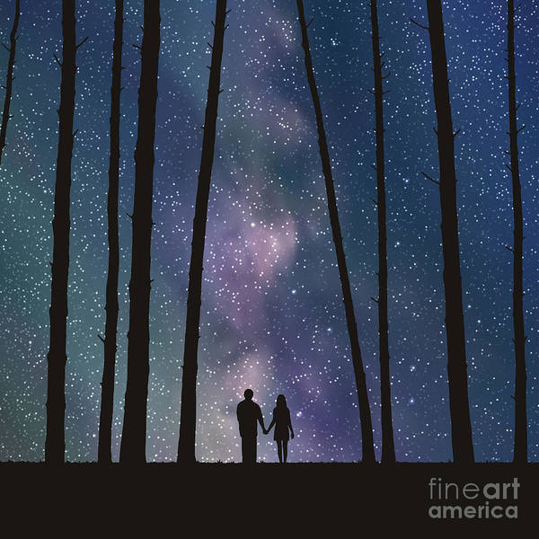 Wall Art - Digital Art - Lovers In Forest. Vector Illustration by Arvitalyaa