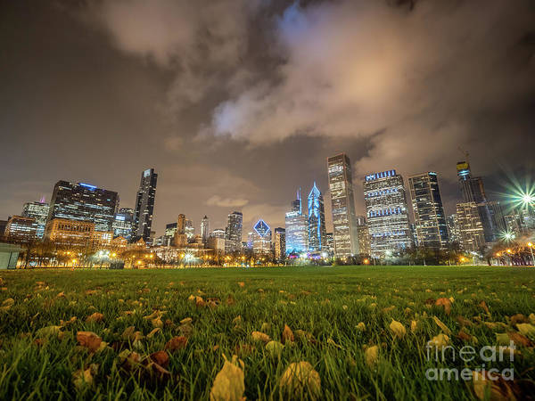 Photograph - Low Angle Picture Of Downtown Chicago Skyline During Winter Nigh by PorqueNo Studios