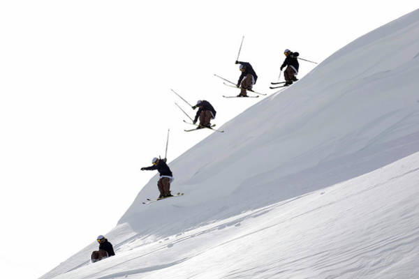 Ski Jumping Photograph - Low Angle View Of Five People Ski by Hans Neleman